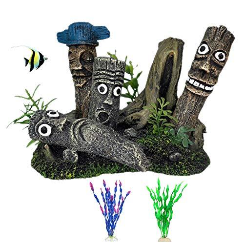 PINVNBY Ostereinsel Moai Aquarium Dekoration Harz Treibholz Statuen Fisch Tank Kreative Ornament mit Betta Versteckhöhle Unterschlupf Löcher Verstecke für Reptilienbox, Familiengarten, Vintage