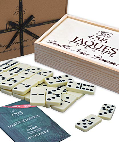 Jaques of London Dominó - Club Doble Nueve dominós engastados en una Tapa Deslizante de Madera D9 Box