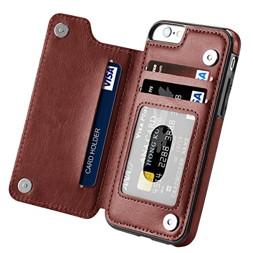 iPhone 6s Case, iPhone 6 Case, Hoofur Slim Fit Premium Leather iPhone 6 Wallet Casae Card Slots Shockproof Folio Flip Protective Shell for Apple iPhone 6/6s (4.7 Inch) (Brown)