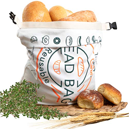 Organic Cotton Bread Bag - Reusable, Premium Bread Bag - Bakery Supplies and Food Storage Solutions - 100% Recyclable and Sustainable - Zero Waste, Vegan Friendly, linen bread bag
