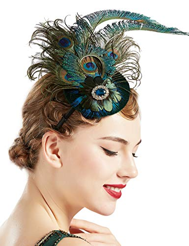 BABEYOND 1920s Flapper Fascinator Feather Pillbox Hat Fascinator for Tea Party (Peacock-1)