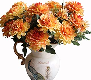 Htmeing 10 Heads Artificial Silk Gerbera Daisy Flowers Marigold Bouquet for Office Home Floral Decor, Pack of 2 (Orange red)