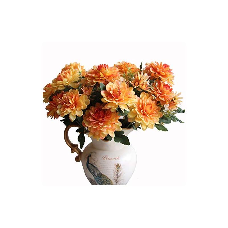 silk flower arrangements htmeing 10 heads artificial mum gerbera daisy flowers marigold bouquet for office home ceremony decor, pack of 2