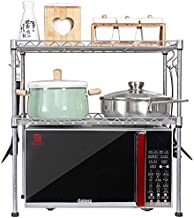 Home Living Museum/Stainless Steel Kitchen Rack Microwave Oven Oven Rack 2 Layer Storage Storage Rack Floor Space (Size : ...