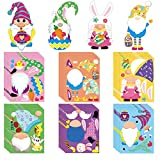 MALLMALL6 36Pcs Make a Easter Bunny Gnome Sticker Game DIY Art Crafts Your Own 6 Kinds Cartoon Characters Stickers Mixed and Matched Games Decorations Party Favors Birthday School Supplies for Kids