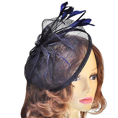 Femmes Grande taille Bleu marine Chapeau style Bibi sur serre-tête – Mariage/femme Jour/Ascot etc.