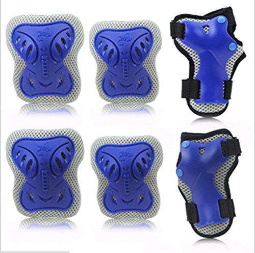 Mounchain Child's Pad Set with Knee Elbow Wrist Kids Protective Gear Sports Safety Pad Safe Guard Inline Roller Skating Biking Support Pad for Bicycling and Roller Skating in Blue S