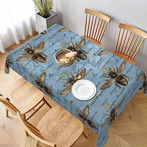 Mantel largo de 152 x 228 cm, diseño vintage de abeja de miel azul para el hogar, cocina, comedor, picnic, banquetes o granjas fiesta decoración