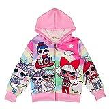 ALaMing Girls Hoodie Zip Sweatshirt LOL Children Coat Cartoon Jacket Outwear Doll Surprise (Pink, 5-6years)