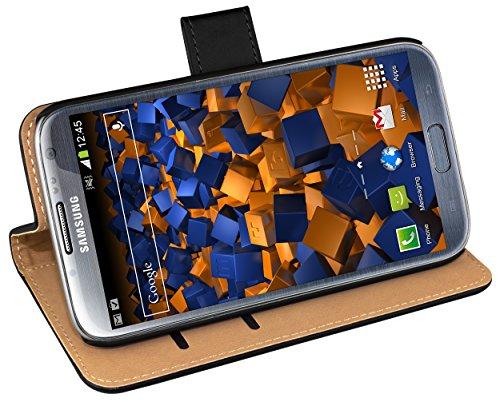 mumbi Tasche Bookstyle Case kompatibel mit Samsung Galaxy Note 2 Hülle Handytasche Case Wallet, schwarz
