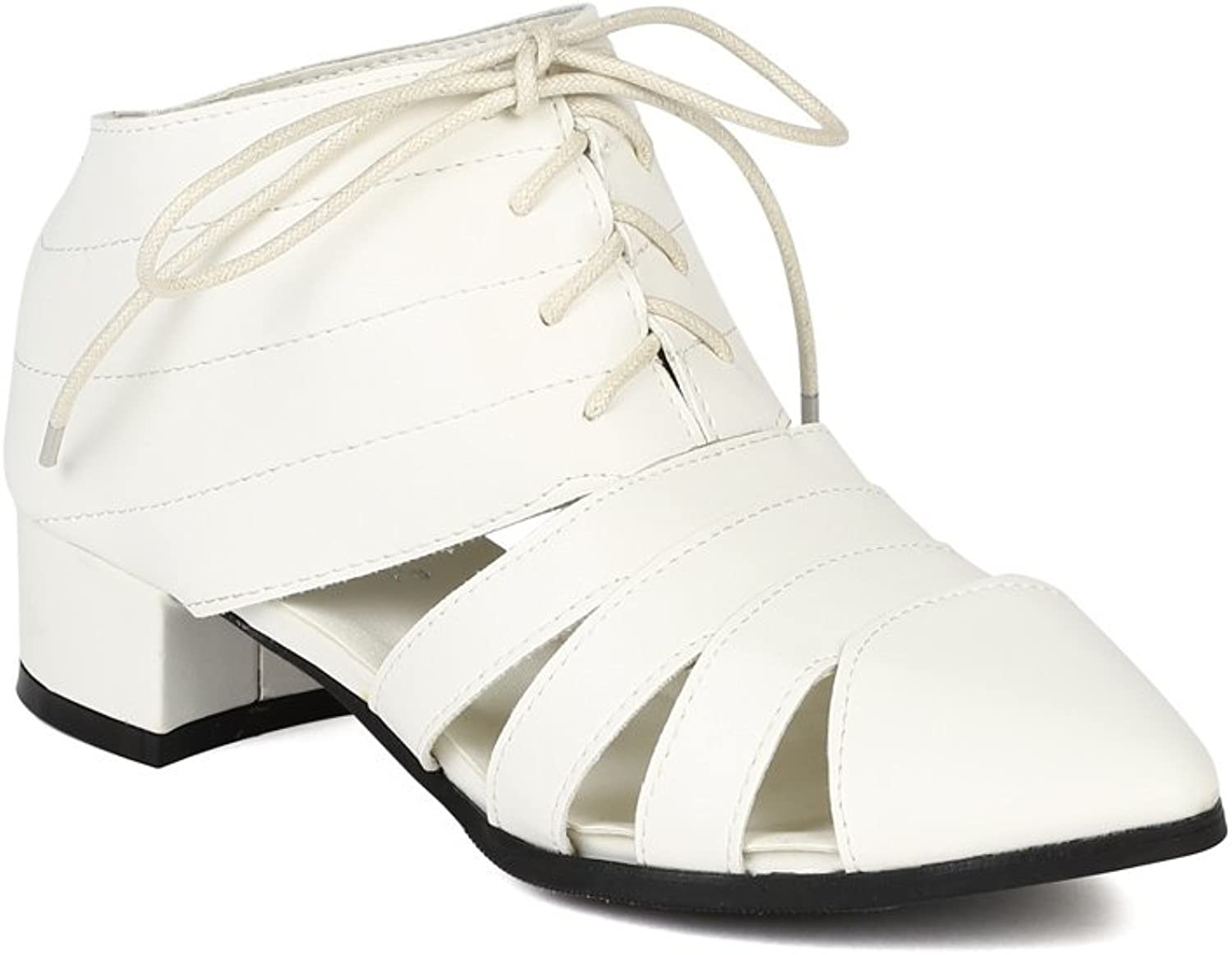Women Leatherette Cut Out Lace up Pointy Toe Bootie BJ21 - White