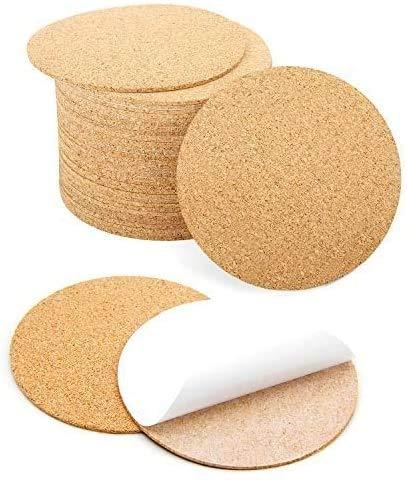 Blisstime 80 Pcs Self-Adhesive Cork Round for DIY Coasters, 4'x 4' Cork Circle, Cork Tiles, Cork Mat, Cork Sheets with Strong Adhesive-Backed