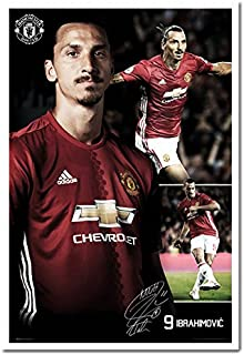 Manchester United Ibrahimovic 16/17 Collage Poster White Framed - 96.5 x 66 cms (Approx 38 x 26 inches)