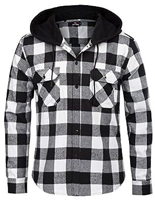 PAUL JONES Men's Stylish & Slim Fit Casual Grid Pattern Long Sleeve Hooded Shirt Tops