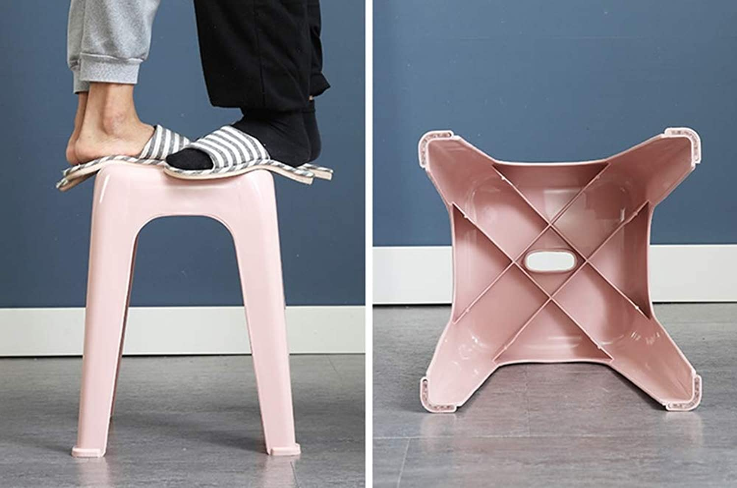 XQY Home Chair Stool Folding Chair-Nordic Plastic Stool Seatathroom Anti-Slip Stool,Home Chairs for Living Room Bedroom and Restaurant,bluee,