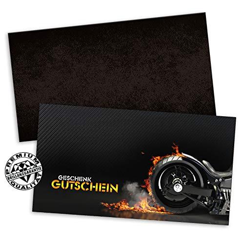 10 hochwertige Gutscheinkarten + 10 Kuverts. Gutscheine für Motorräder Motorroller Motorradgeschäft Motorradhandel. Vorderseite hochglänzend. SP1230