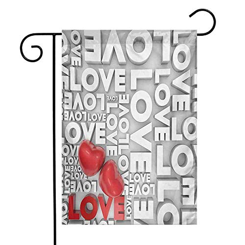Garden Flags Double-Sided Polyester Vertical Outdoor Yard flag Love Macro Big Texts Lettering Setting Passionate Emotions Feelings Valentines Design Grey Red White Home Decorative Christmas 12x18