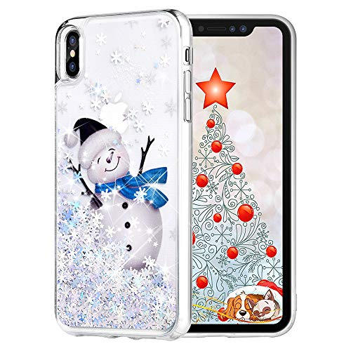 Maxdara Christmas Case for iPhone Xs Max, Merry Christmas Snowman Pattern Glitter Liquid Bling Sparkle Pretty Cute Case for Girls Children Women Gifts Xs Max Christmas Case 6.5 inch(Snowman)