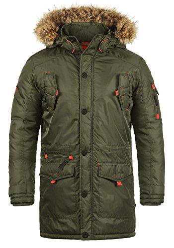 !Solid Betto Herren Winter Jacke Parka Mantel Lange Winterjacke gefüttert mit Kunst-Fellkapuze, Größe:XL, Farbe:Ivy Green (3797)