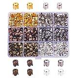PandaHall 600pcs 5 Couleurs Espaceurs de Chapeaux de Perles de Fleur de Fer de Style Tibétain 4 Pétales 6.5x7mm pour la Fabrication de Bijoux d'artisanat de Boucle d'oreille