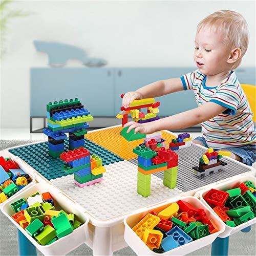 Kids Multi Activity Table Set Multi-Purpose Building Block Construction Table,Educate Fine Motor Skills for 4-9 Year Old Boys & Girls Building Block Table (Color : Multi-colored, Size : One szie)