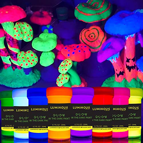 individuall Luminous Glow in The Dark Paint - Set of 8 Self-Luminous Neon Paints – Long-Lasting Phosphorescent Paint – Glowing Neon Paint