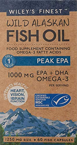 Wiley\'s Finest, olio di pesce Peak EPA, in pillole, 60 capsule