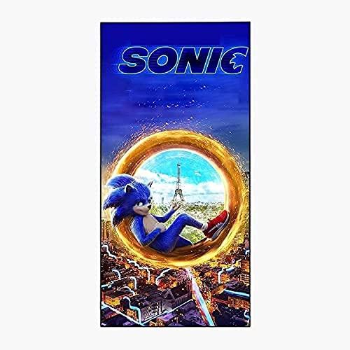 PEACLOUD Toalla de playa Sonic Anime The Erizo Toalla de playa para niños, secado rápido, toalla de baño de microfibra, toalla grande para spa, deportes, yoga, viajes, camping (Sonic5,75x150cm)