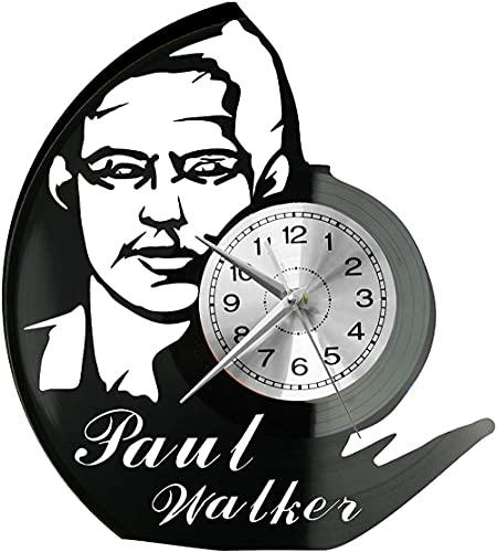 hhhjjj Paul Walker Reloj de Pared Disco de Vinilo Reloj Retro Estilo Gaubel Habitación Decoraciones para el hogar Reloj Paul Walker