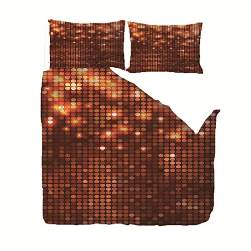 Microfiber Duvet Cover Set Brown shiny sequins King bed Bedding Set Duvet Cover 86.6x94.5 inch with 2 Pillowcase 20x29.5 inch Children's rooma and bedroom Home Decoration