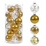 Kesote 24 Bolas Doradas de Navidad Bolas Plásticas Adornos Colgantes para Árboles de Navidad Decoración (6 cm)
