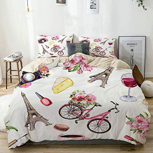 Funda nórdica beige, estilo parisino, flores, bicicleta, vino, queso, cosméticos, taza de café, macarrones, torre Eiffel, juego de cama de microfibra impresa de calidad de 3 piezas, diseño moderno con
