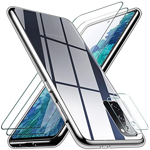 Pengkun 5 en 1 Funda para Samsung Galaxy S20 FE 5G con 2 Cristal Templado 2 Cristal Templado para cámara Trasera Transparente Silicona TPU Carcasa para Samsung Galaxy S20 FE 5G