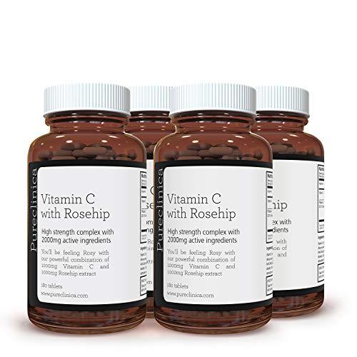 Vitamin C with Rosehip – 2000mg (1000mg VIT C & 1000mg Rosehip Extract) x 720 Tablets – 2 Years Supply! SKU: ROSEC3x4