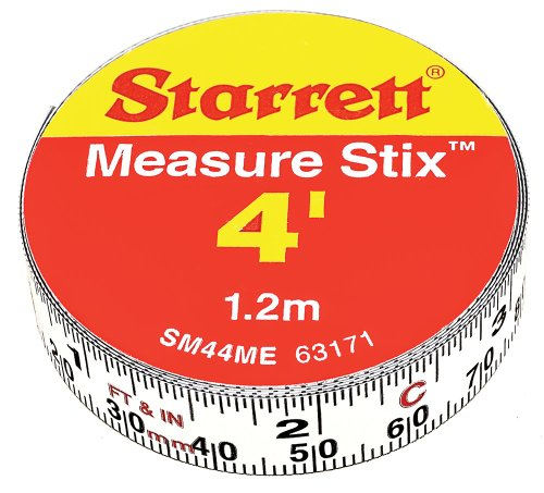 Starrett Measure Stix SM44ME Steel White Measure Tape with Adhesive Backing, English/Metric Graduation Style, Left to Right Reading, 4' (1.2m) Length, 0.5' (13mm) Width, 0.0625' Graduation Interval