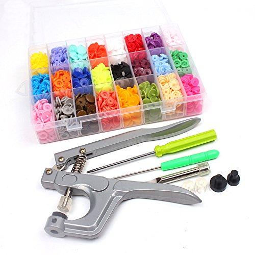 Godagoda - Set di 360 bottoni a pressione in plastica T3 T5 T8, kit di pinze fai da te e artigianato con scatola