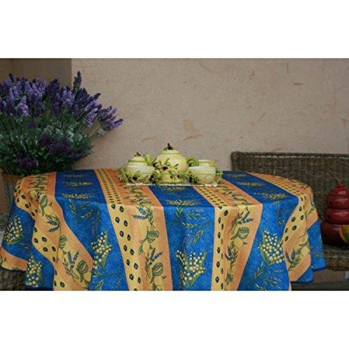 Nappe ronde mimosa citron lavande bleu 1m60 anti tache infroissable