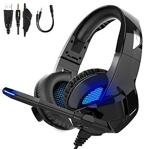 TedGem Headphones, Headset, Surround Sound Kopfhörer, 3.5mm Gaming Kopfhörer mit Mikrofon, LED Licht Headset PS4, Headset PC für Xbox One PC Laptop Mac Tablet