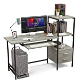 Mecor Computer Desk with 2 Drawer/Keyboard Tray, Study Writing Desk w/Storage Shelves Modern Simple Style PC Desk Laptop Study Table Workstation for Home Office (Oak Grey)