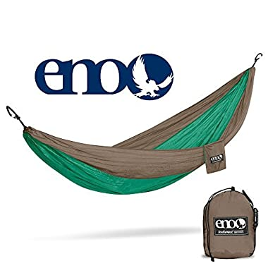 ENO Eagles Nest Outfitters - DoubleNest Hammock, The Original Portable Outdoor Camping Hammock for Two, Special Edition Colors, Emerald/Khaki