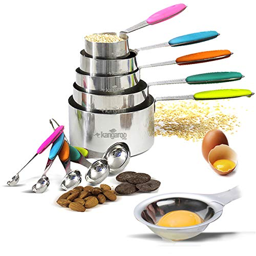 Measuring Cups and Spoons 18/8 Stainless Steel. 10 Pieces Set. Includes Egg Yolk and White Separator. Measure Liquid and Dry Ingredients for Cooking and Baking. Multicolor Silicon handles.