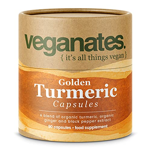 Vegan Turmeric Supplement with Active Curcumin, Black Pepper and Ginger. 90 High Strength Organic Capsules, Plastic Free Eco Packaging, Superior Absorption. Made in The UK by Veganates
