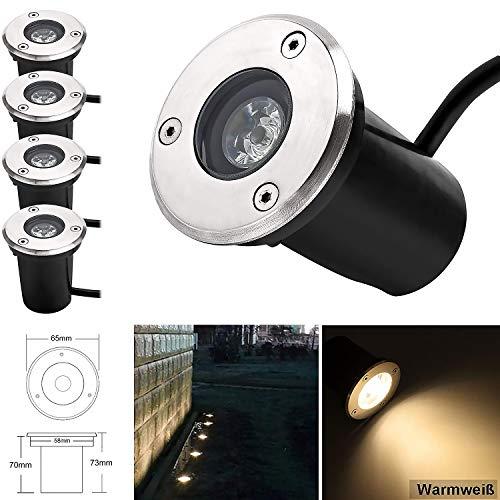 1W LED Bodeneinbaustrahler, 230V AC 90Lumen 45° Gartenbeleuchtung Lampe Aussen Warmweiß 3000K Rund für Wegbeleuchtung Garten Terrasse Treppen Edelstahl Bodenleuchte