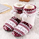 Zapatillas Casa Hombre Mujer Winter Women Slippers Floral Home Slippers For Women Sturdy Plush Slippers Indoor Lovely Slippers-Red_6.5