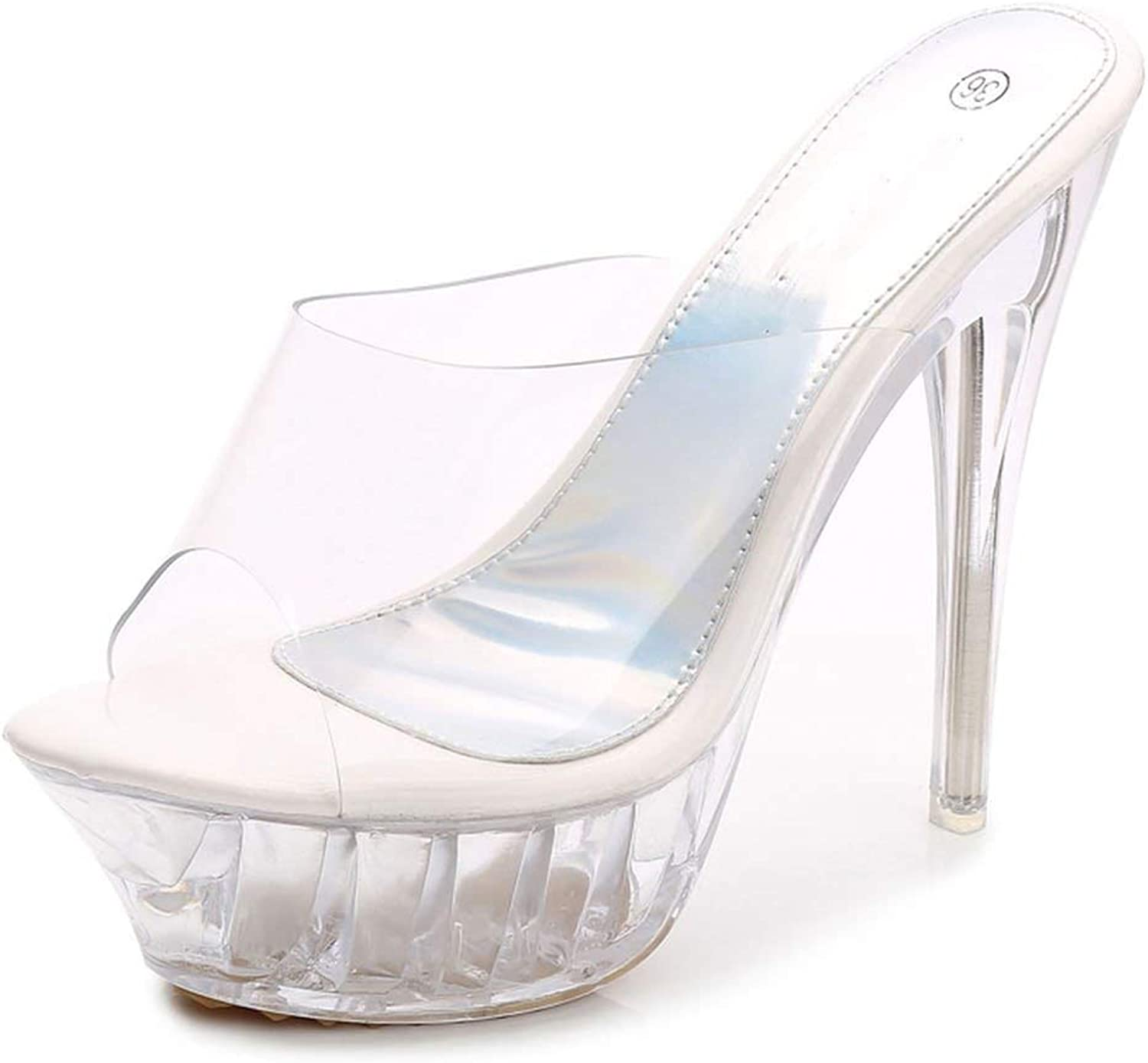 Awesome-experience 2019 Summer Platform Sexy Slingback Mules Clear Sandals shoes for Women Large Size