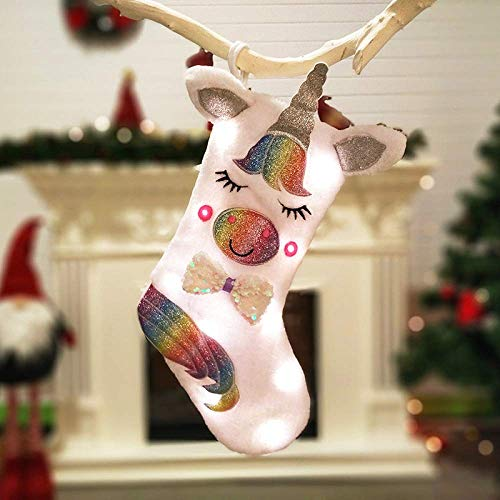 Scopri offerta per Calze Natalizie, Ultimo Unicorno Illuminato, Stile Creativo Unico, Calze Regalo Dell'albero di Natale,Porta Le Migliori Sorprese per i Bambini alla Vigilia di Natale(Luminescente18*13cm)