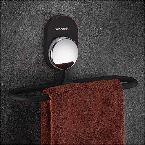 Wangel Handtuchring ohne Bohren, Handtuchhalter, Transparent Selbstklebender Kleber, Aluminium, Schwarz
