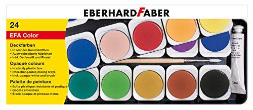 Eberhard Faber 578124 Deckfarbkasten aus Kunststoff, 24er, Mehrfarbig