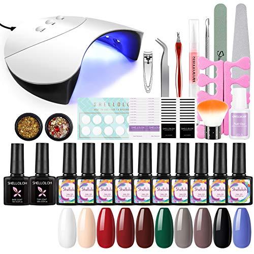 Shelloloh 10pcs Gellacken Nagelstudio Set mit 36w Doppellichtquelle Lampe Farbgel Set UV Gel Lack Set Nagel Design