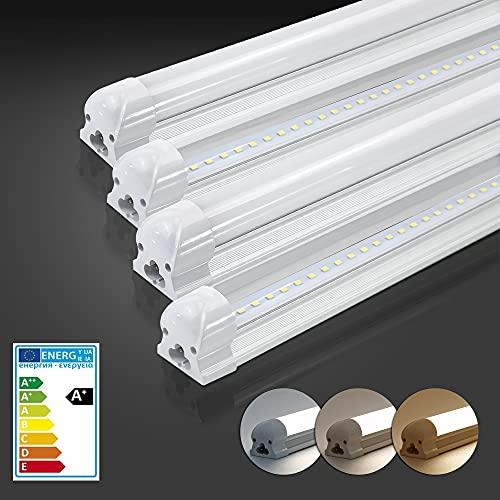 Atlaz Tubo LED de 120 cm, tubo fluorescente completo con casquillo, 18 W, 1700 lm, 6000 K, blanco frío, barra de luz, cableado y ampliable, cubierta lechosa [Clase energética A+]